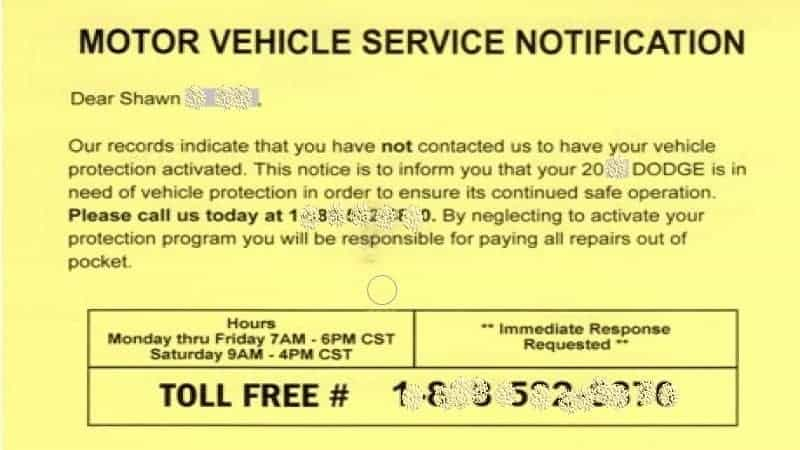 motor vehicle service notification meaning
