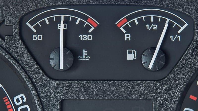 car temperature gauge rises then falls